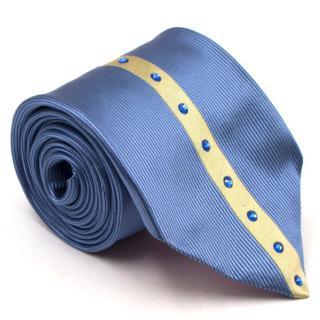 Duchamp Silk Blue & Gold Panel Diamante Tie