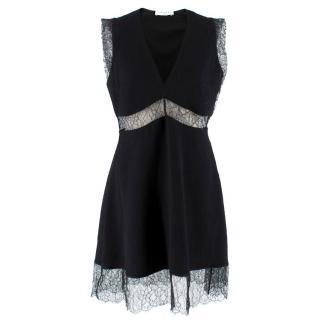 Sandro Black Lace Panel Mini Dress