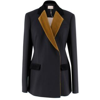 Christopher Kane Black and Tan Velvet Collar Blazer