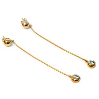 Bespoke Blue Topaz Drop Earrings 9ct Gold