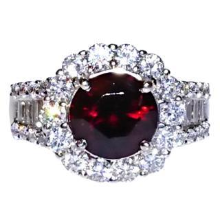Bespoke Garnet & Diamond Cluster Ring 18ct Gold