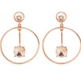 Oscar de la Renta Rose Gold Crystal Embellished Drop Earrings