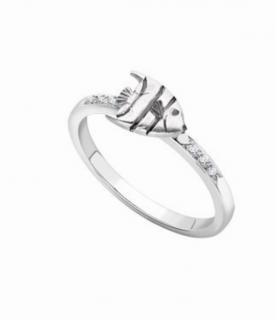 Theo Fennell 18ct White Gold & Diamonds Angel Fish Ring