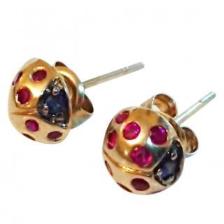 Bespoke Ruby & Sapphire Ladybird Earrings