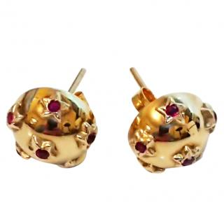 Vintage Dome Ruby Star Earrings 9ct Gold