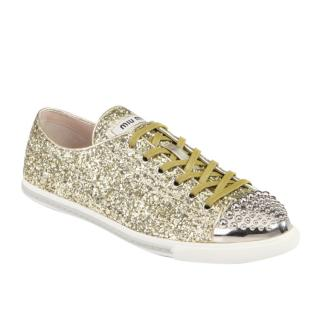 Miu Miu gold glitter trainers