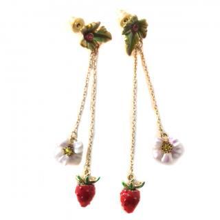 Les Nereides Leaf ,Chains & Strawberry & White Flower Drop Earrings