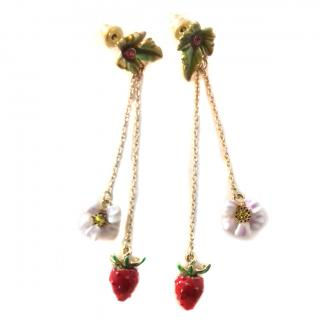 Les Nereides Leaf ,Chains & Strawberry & White Flower Drop Earrings