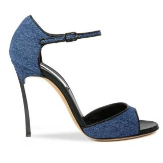 Casadei Blade Heel Denim Sandals