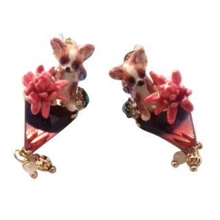 Les Nereides Chihuahah On A Stone Pink Flower Stud Earrings