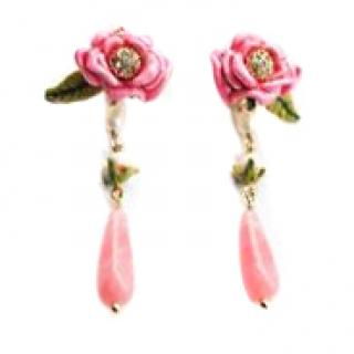 Les Nereides Handcrafted French Glazed Rose Bud Pearl Drop Earrings