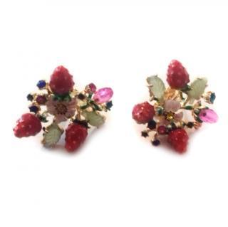 Les Nereides Bouquet Of The Royal Garden Clip Earrings
