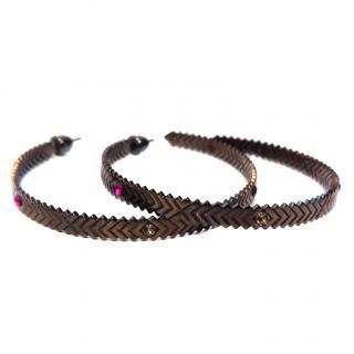 Charlotte Valkeniers Solar Oxidised Hoop Earrings