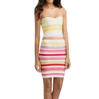 Herve Leger Strapless Multicoloured Striped Bandage Dress
