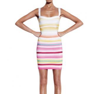Herve Leger Multicoloured Striped Bandage Dress