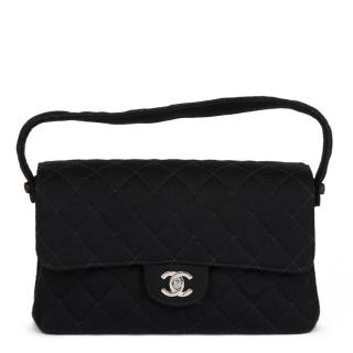 Chanel Black Quilted Jersey Vintage Double Sided Flap Bag