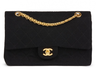 Chanel Black Quilted Jersey Vintage Classic Double Flap Bag