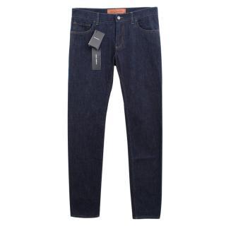 Dolce & Gabbana Bee & Crown Embellished Dark Blue Jeans