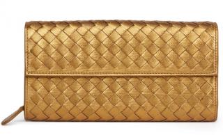Bottega Veneta Bronze Woven Metallic Grosgrain Calfskin Wallet