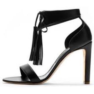Rupert Sanderson Countess Black Leather Sandals