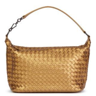 Bottega Veneta Woven Metallic Grosgrain Calfskin Small Shoulder Bag