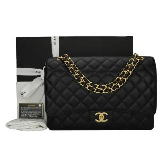 Chanel Maxi Black Caviar Classic Double Flap Bag