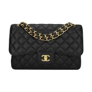 Chanel Classic Double Flap Jumbo Black Caviar Bag