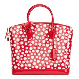 Louis Vuitton Red Vernis Leather Dots Infinity Yayoi Kusama Lockit MM