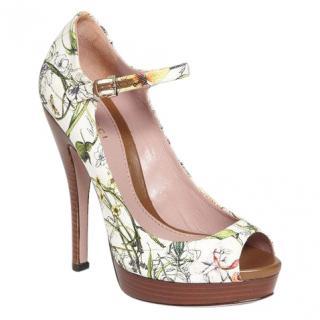 Gucci Flora Canvas Lisbeth Peep Toe Platform Pumps