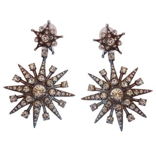 Oscar De La Renta Crystal Star Drop Stud Earrings