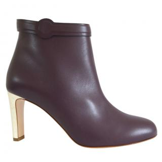 Rupert Sanderson Lavino Purple Leather Ankle Boots