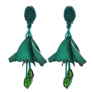 Oscar De La Renta Green Mini Impatien Drop Clip Earrings