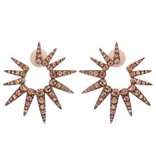 Oscar de La Renta Crystal Pave Sea Urchin Stud Earrings