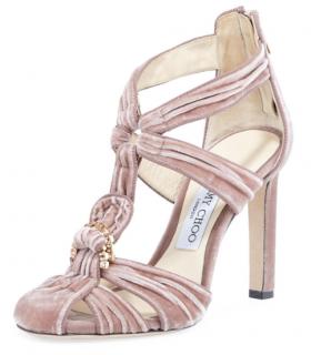 Jimmy Choo Krissy Pink Velvet Jewelled Sandals