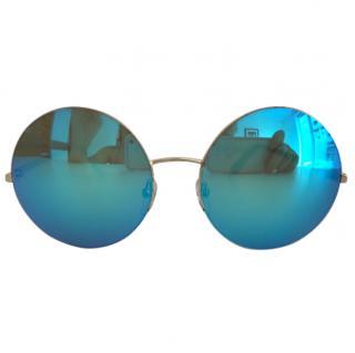 Victoria Beckham round blue sunglasses