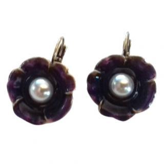 Oscar De La Renta Purple Glazed Enamel Pearl Flower Hook Earrings