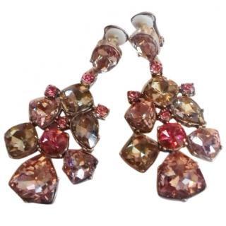 Oscar de La Renta Pink Crystal Clip-on Earrings