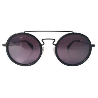 Yohji Yamamoto Men's Iconic Matt Black Round Sunglasses