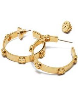 Tory Burch 14k Gold Plated Milgrain Logo Hoop Earrings