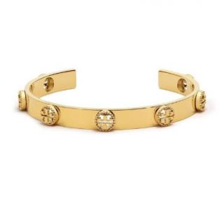 Tory Burch 14k Gold Plated Milgrain Logo Cuff Bangle