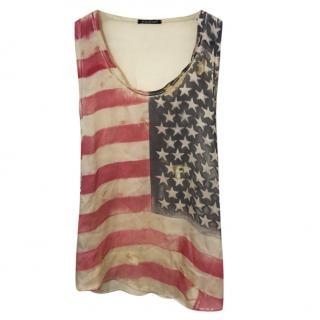 Balmain USA Flag Print Silk Vest