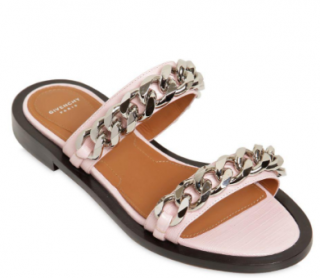 Givenchy 10mm embossed Pink leather Chain sandals