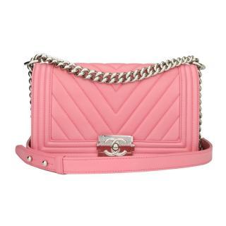 Chanel Old Medium Pink Calfskin Chevron Boy Bag