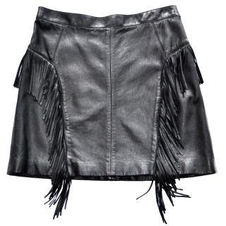 Saint Laurent Fringed black leather mini skirt
