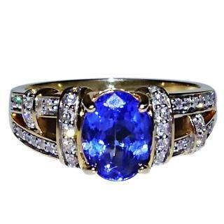 Bespoke Tanzanite & Diamond Ring 18ct Gold