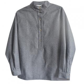 Chloe grey wool button up blouse