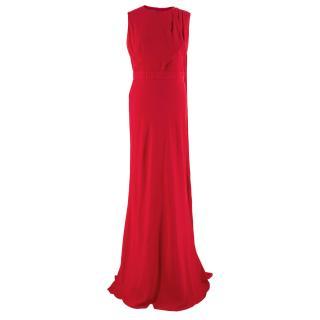 Alexander McQueen Draped Red Open Back Gown