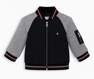 Baby Dior Boy's Black Technical Fabric & Grey Cotton Fleece Jacket