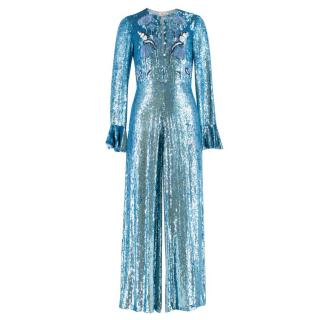 Temperley Blue Sequin Jumpsuit