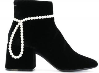 MM6 Velvet & Pearl Ankle Boots